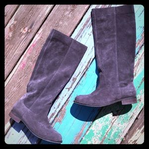 SOLE SOCIETY Gray Suede Tall Equestrian Boots 8